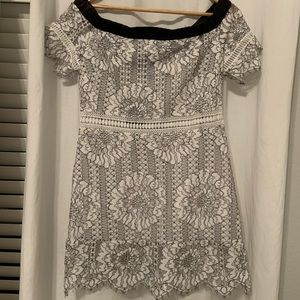 Off the shoulder white & black lace mini dress NWT